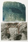 Beach Drawing and Pictograph, 1988 Cyanotype, gelatin silver print, acrylic paint mounted to board. 20 x 16 inches