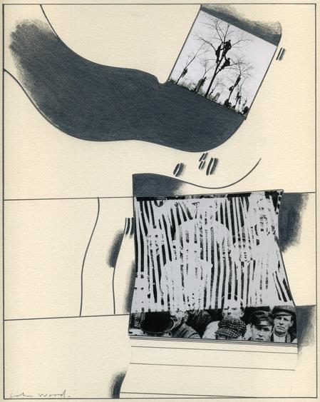 Chicago MacArthur Day Parade, 1955 Photocollage and graphite on paper mounted to board. 20 x 16 inches