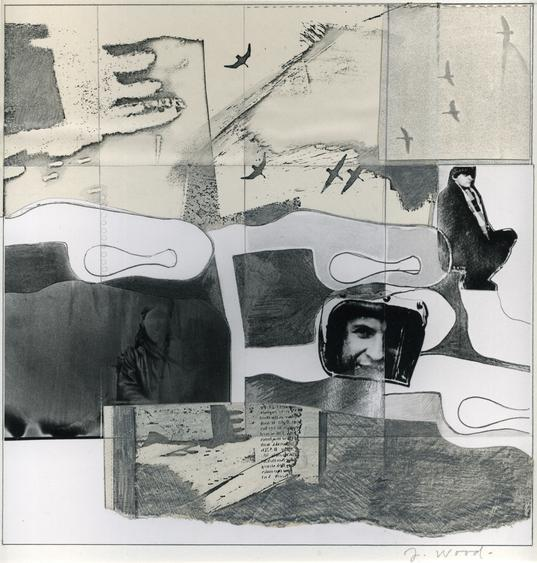 Birds and Racer, c.1960s Collage, gelatin silver print mounted to board. 18 x 14 inches