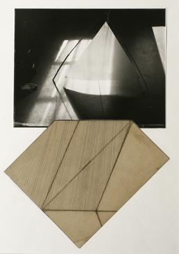 Triangle Paper, 1981 Gelatin silver print and asphaltum drawing mounted to paper. 20 x 16 inches