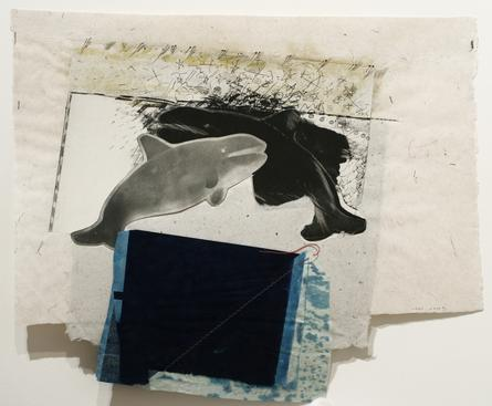 Whale Tale, 1992 Gelatin silver print, cyanotype, paper pulp with stitching collage mounted to board. 20 x 24 inches
