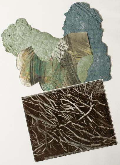 Arranged Stick Pile, 1985 Gelatin silver print, paper pulp mounted to board. 22 x 16 1/4 inches