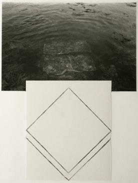 Square Rock, Maine, 1981 Gelatin silver print and ink drawing mounted to paper. 20 x 15 inches