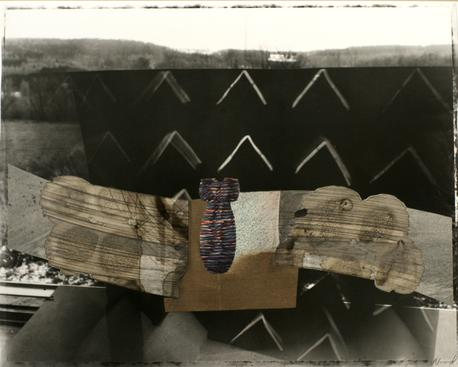 Landscape with Bomb, 1985 Gelatin silver print with drawing collage mounted to board. 20 x 24 inches