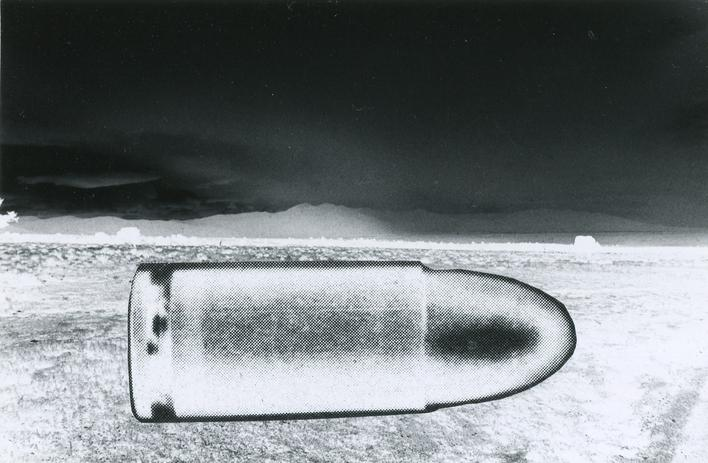 Bullet in Landscape, c. 1960s Gelatin silver print mounted to board, printed c. 1960s. 4 x 6 inches