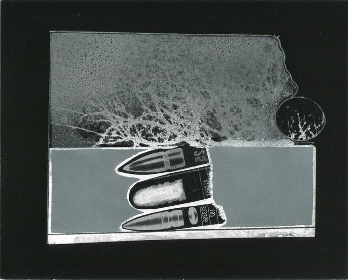 Three Bullets in Landscape, 1960s Gelatin silver print, printed c. 1960s. 8 x 10 inches