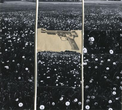 Gun in Landscape: Daisies, 1965 Collage mounted to board 5 x 5 3/4 inches