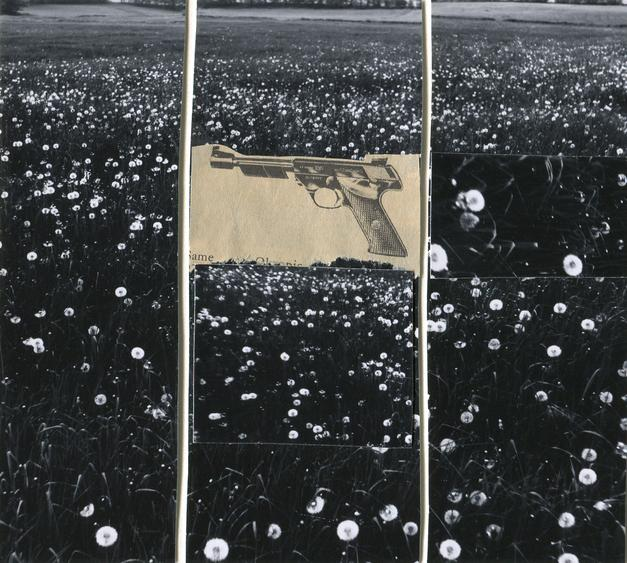 Gun in Landscape: Daisies, 1965 Collage mounted to board. 5 x 5 3/4 inches