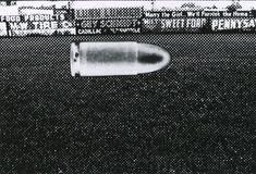 Bullet in Playing Field, Wellsville, NY, 1967 Gelatin silver print mounted to rag paper. 6 1/2 x 9 1/2 inches