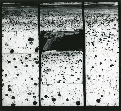 Gun in Landscape: Daisies, 1965 Gelatin silver print mounted to board, printed c. 1965. 8 x 7 1/2 inches