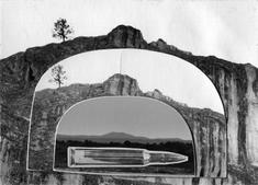Gun in Landscape: Butte Landscape, c. 1960s Collage mounted to board, printed c. 1960s. 2 1/2 x 3 1/2 inches