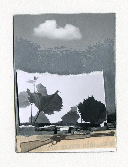 Rifle with Cloud, NM, 1965 Collage mounted to board. 3 1/4 x 2 1/2 inches