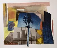 Windmill and Cooling Towers, 2000     Cyanotype and watercolor collage 11 x 12 in.