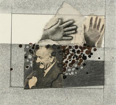 L.B.J. and Hands, 1965     Collage 3 1/4 x 2 3/4 in.