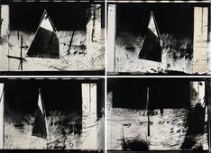 Triangle in the Landscape: Eleven Second 90 Degree Turn of a Paper Triangle, August 6, 1985 (Hiroshima Day), 1985 Four gelatin silver prints from scratched 35mm negative, graphite. 15 7/8 x 19 7/8 inches each