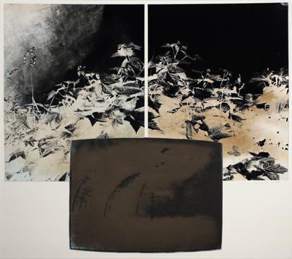 TV Landscape Series - Nuclear Explosion, 1985 Gelatin silver print, collage. 15 1/2 x 18 3/8 inches