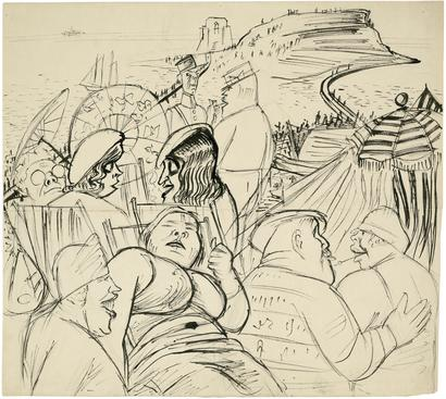 Karl Hubbuch On the Beach in St. Malo, c. 1930-31 Brush and lithographic chalk on wove paper. 16 3/4 x 18 1/2 inches