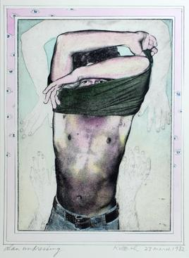 Alan Undressing, 1982 Photo-etching with handcoloring, 8 x 6inches