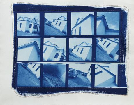 Larry McPherson's House at Black Mesa - Albuquerque, 1970 Cyanotype with stitched paper border, 10 x 13 inches