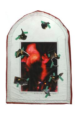 Keith Smith Covered Face, 1971 Collage and silkscreen on silk 19 3/8 x 14 3/8 inches (49.2 x 36.5 cm)