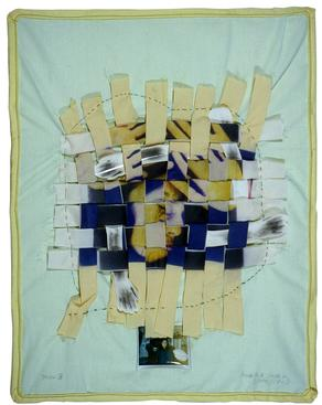 Keith Smith Miss B, 1971 Color scan heat transfer to cloth with hand stitching 23 x 28 inches (58.4 x 71.1 cm)