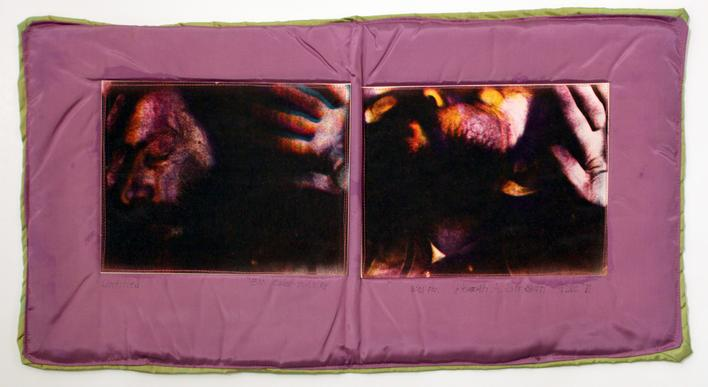 Keith Smith Untitled, 1971 Color paper prints machine-sewn into satin 15 1/2 x 30 inches (39.4 x 76.2 cm)