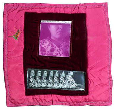 Margaret Looking the Other Way, 1972 Gelatin silver prints machine-sewn to cloth, 14 x 14 inches