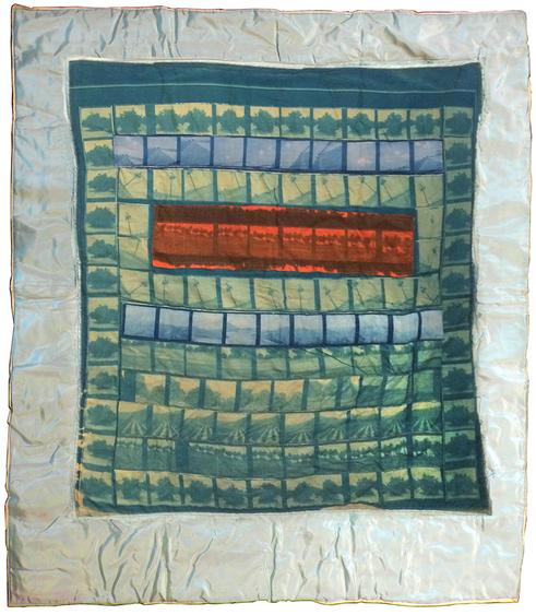 Keith Smith Orange Grove Baby Quilt, 1970 Cyanotype on cloth, machine-sewn onto satin 43 x 38 inches (109.2 x 96.5 cm)