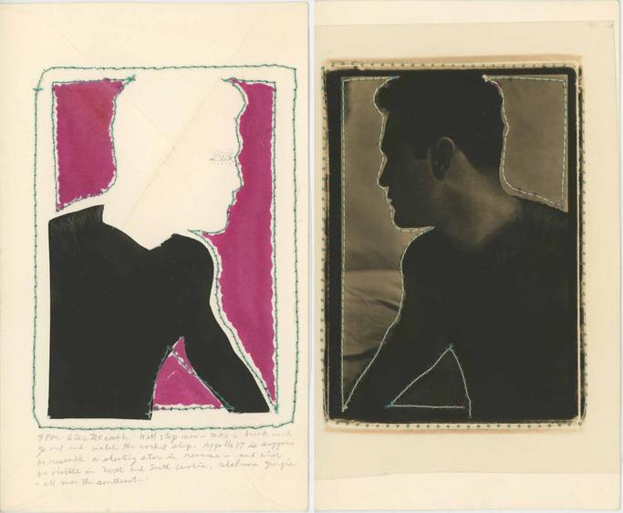 Keith A. Smith Postcard: Mario, 9 PM 6 Dec 72, 1972 Mixed media on paper with machine sewing