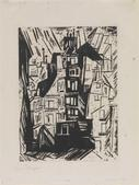 Lyonel Feininger Parisian Houses, 1920 Woodcut. 14 5/8 x 10 5/8 inches