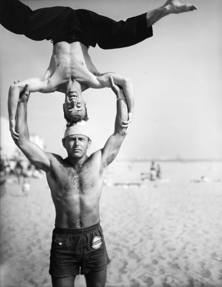 Headstand, Muscle Beach, Santa Monica, CA, 1954