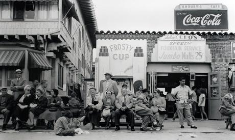 Boardwalk Bench Spectators, Muscle Beach, California, 1954 Gelatin silver print, printed later 20 x 23 1/2 in. (50.8 x 59.7 cm) Signed, titled, and dated on verso Sold