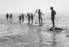 Dancing on the Jetties, 1979 Gelatin silver print. 16 x 20 inches