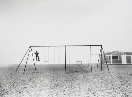 Boy Standing on Swing, Compo Beach, Westport, CT, 1975