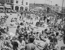 People on Beach, Muscle Beach, Santa Monica, CA, 1954 Gelatin silver print, printed later 16 x 20 in. (40.6 x 50.8 cm) Signed, titled, dated with artist stamp on verso $4,000 Inquire