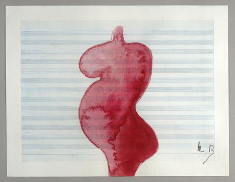Louise Bourgeois (1911-2010) Pregnant Woman, 2008 Gouache and colored pencil on etched music paper 11 1/2 x 15 inches (29.2 x 38.1 cm)