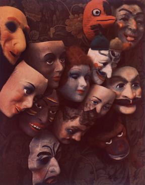 Masks, Boston, 1966     Dye transfer print. 8 x 6 3/4 inches