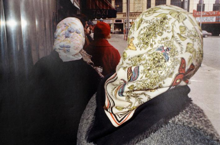 Flowered Head Scarf, Public Square, Wilkes-Barre, PA, March, 1975 Chromogenic print, printed c. 1975. 16 x 20 inches