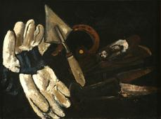 Marsden Hartley  Gardener's Gloves and Field Implements, 1937-38    Oil on canvas board. 17 7/8 x 24 inches