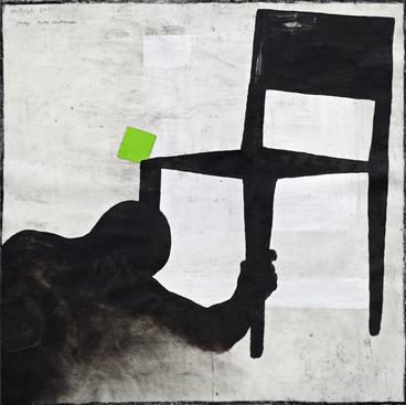 Untitled, September 11, 2011    Mixed media on paper and canvas. 19 1/4 x 19 1/4 inches