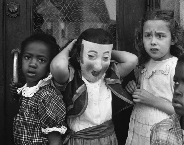 Untitled (Children with Mask), 1951 Gelatin silver print, printed c. 1951 7 1/4 x 9 1/4 inches