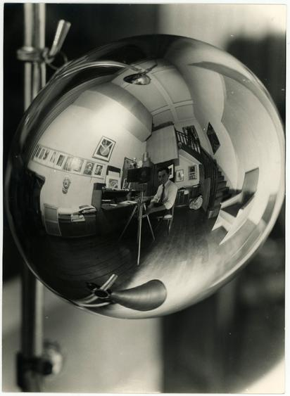 Man Ray (1890-1976) Self Portrait in the Studio 31 bis, rue Campagne Première, 1933-1935      Gelatin silver print, 9 7/16 x 6 7/8 in. (24 x 17.5 cm)