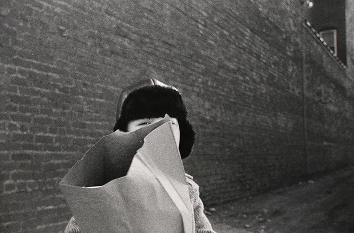 Hat and Bag in Alley, Mkt St Hgts, 1974 Gelatin silver print 16 x 20 inches