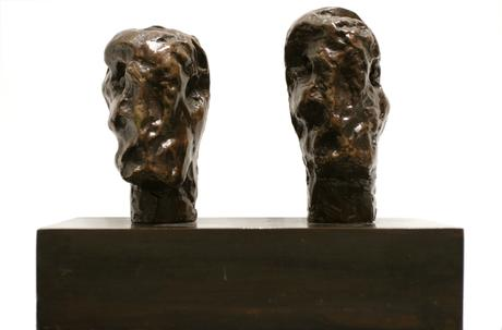 Henry Moore Emperor's Heads, 1961     Bronze sculpture with brown patina 7 1/2 x 8 1/2 x 4 1/5 in. (19.1 x 21.6 x 10.7 cm)