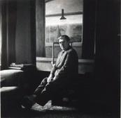 Self-portrait in his studio, 1955 Gelatin silver print 2 1/4 x 2 1/2 inches