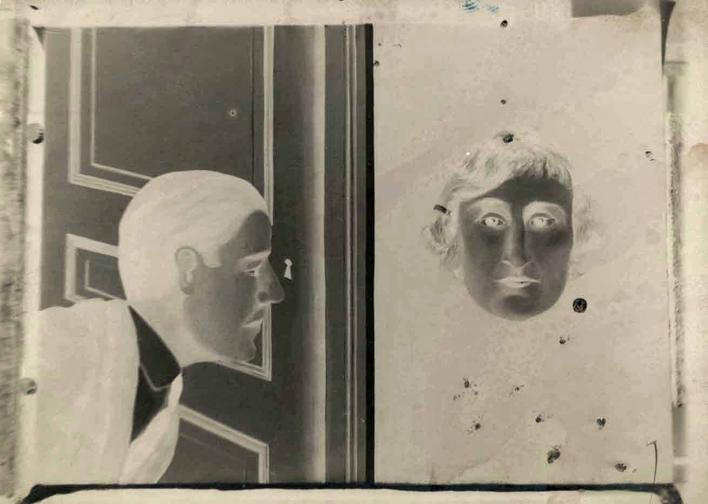 L'Espion, 1928  Solarized gelatin silver print  p.p1 {margin: 0.0px 0.0px 0.0px 0.0px; text-align: center; font: 12.0px Arial} 3 1/8 x 4 3/8 in. (8.2 x 11.2 cm)