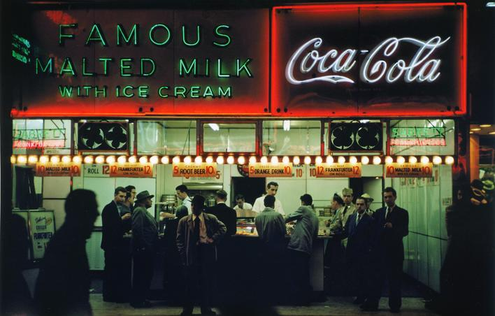 Ruth Orkin Famous Malted Milk, NYC, c. 1950 Archival inkjet print, printed 2010.  11 x 14 inches