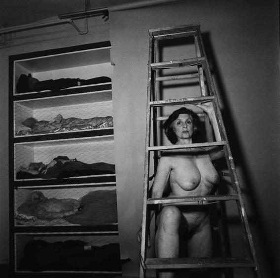 Self-portrait Under Ladder, 1986 Gelatin silver print, printed 1986 20 x 16 inches