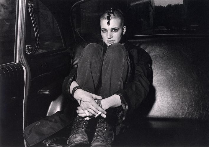 Punk Donna in Boots and Backseat, 1982 Gelatin silver print 16 x 20 inches Edition of 12 Signed, titled, and dated on verso $4,000 Inquire