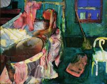 Romare Bearden (1911-1988) Cora's Morning, 1986     Collage and watercolor on paper 11 x 14 in. (27.9 x 35.6 cm)